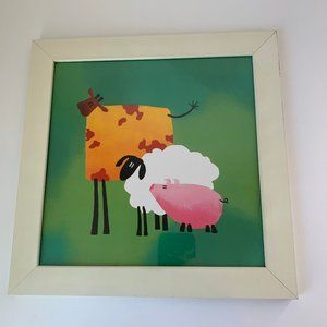 Ikea Smarr Cow Sheep Pig Hanging Picture White